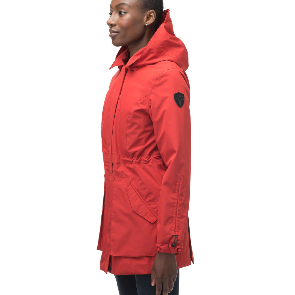 Women's thigh length raincoat with collar and non-removable hood in Vermillion | color