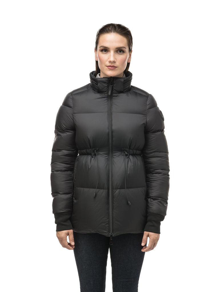 Hip length, reversible women's down filled jacket with waterproof exposed zipper in Black| color
