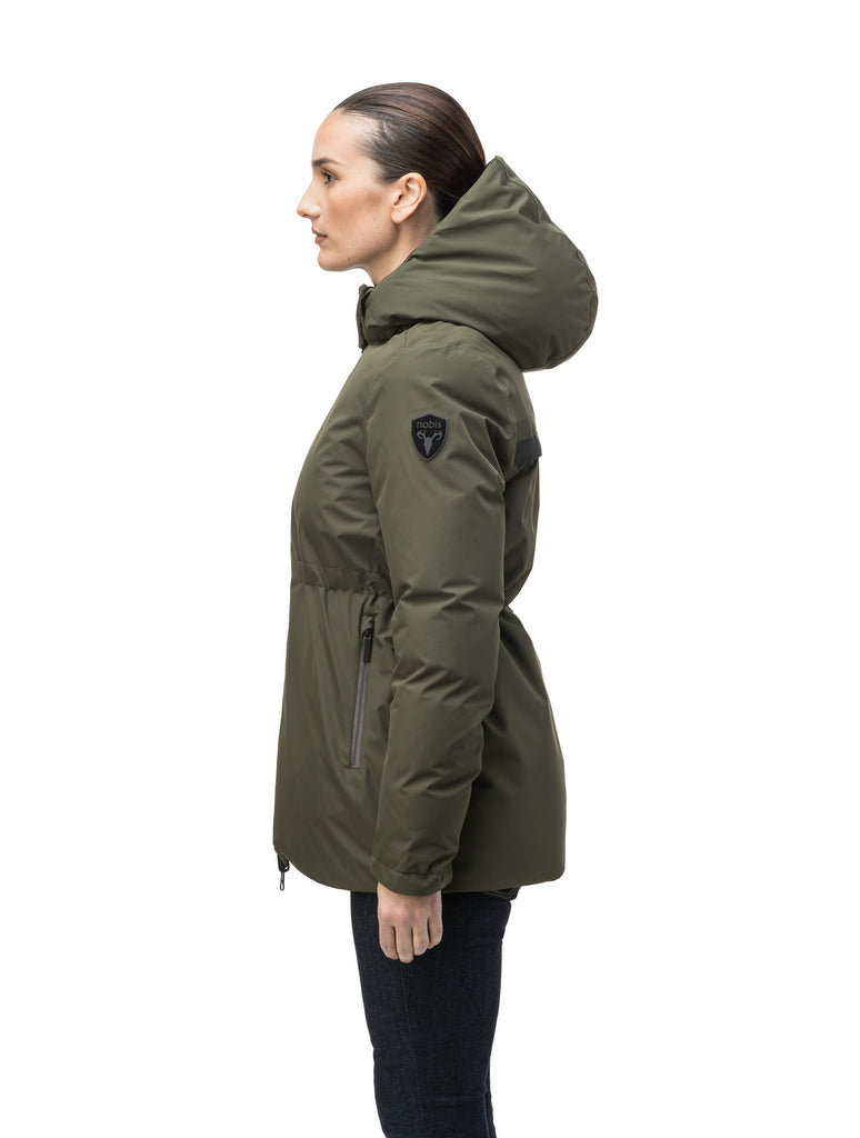 Hip length, reversible women's down filled jacket with waterproof exposed zipper in Fatigue| color