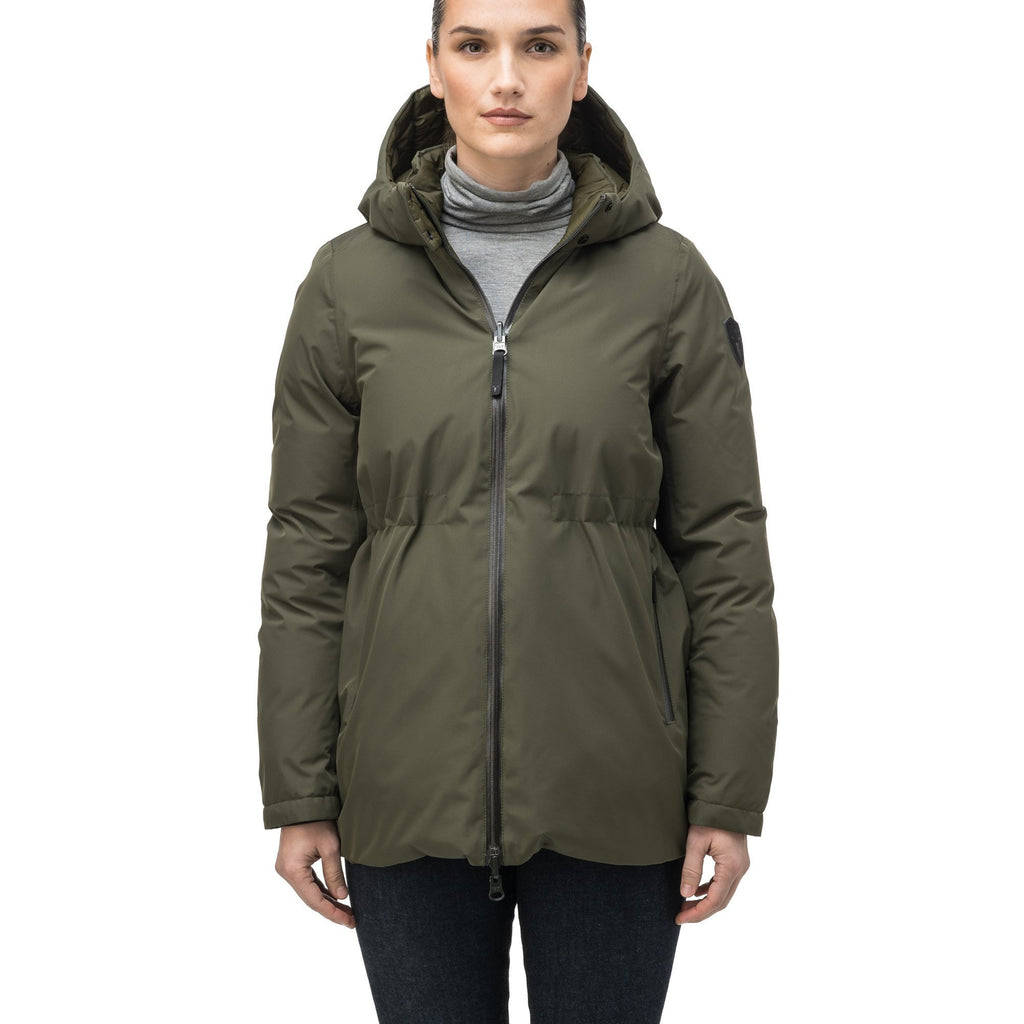 Hip length, reversible women's down filled jacket with waterproof exposed zipper in Fatigue | color