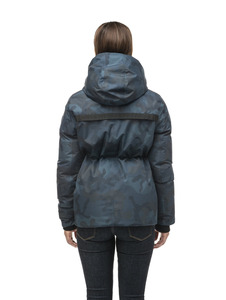 Hip length, reversible women's down filled jacket with waterproof exposed zipper in Navy Camo| color