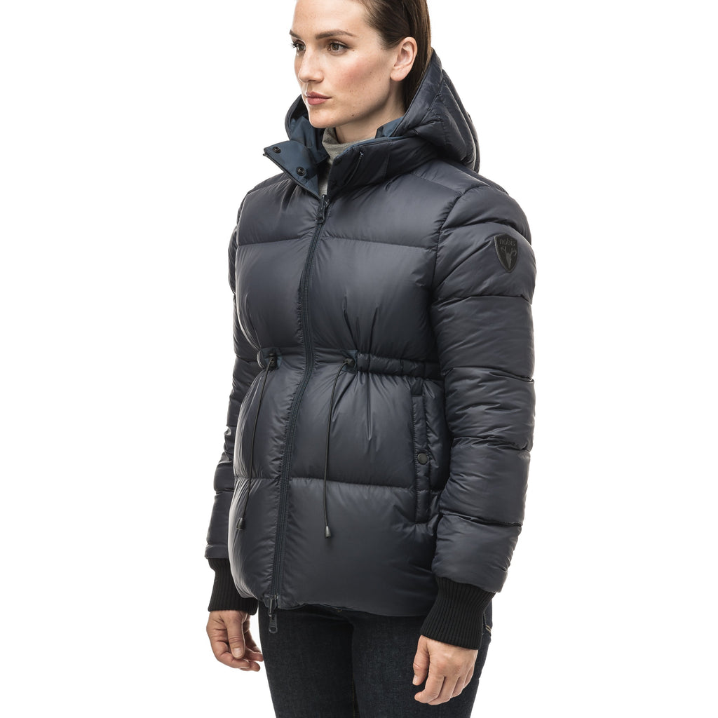 Hip length, reversible women's down filled jacket with waterproof exposed zipper in Navy Camo | color
