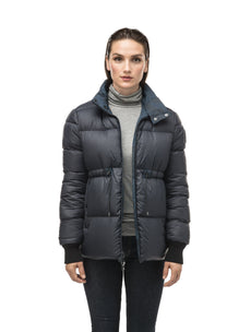 Hip length, reversible women's down filled jacket with waterproof exposed zipper in Navy Camo