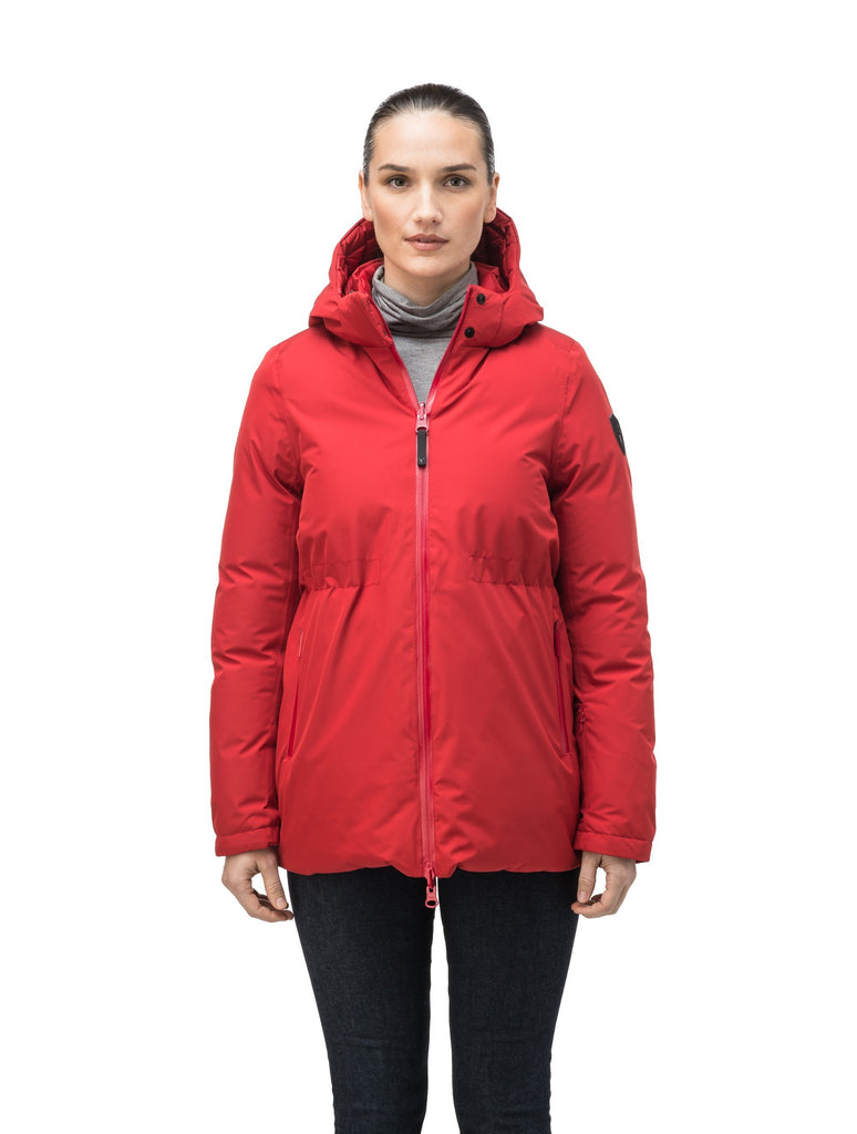 Hip length, reversible women's down filled jacket with waterproof exposed zipper in Vermillion| color