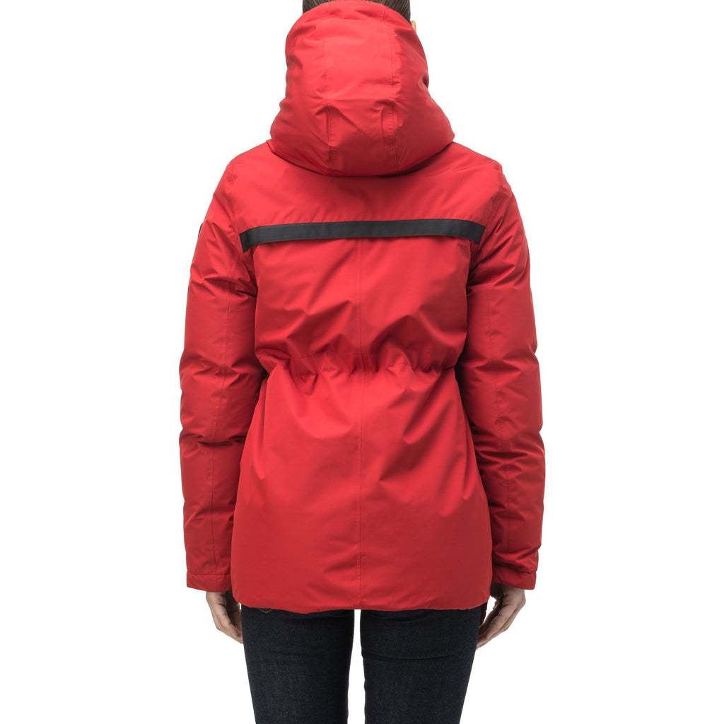 Hip length, reversible women's down filled jacket with waterproof exposed zipper in Vermillion | color