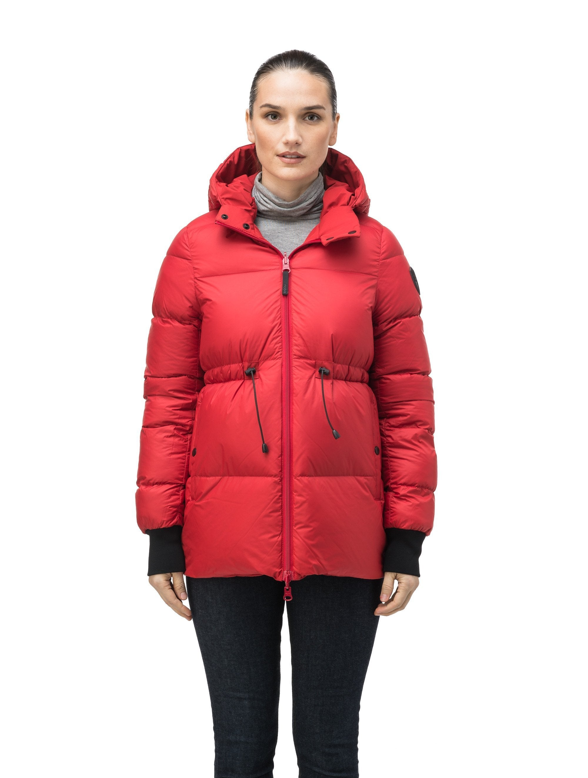 Hip length, reversible women's down filled jacket with waterproof exposed zipper in Vermillion