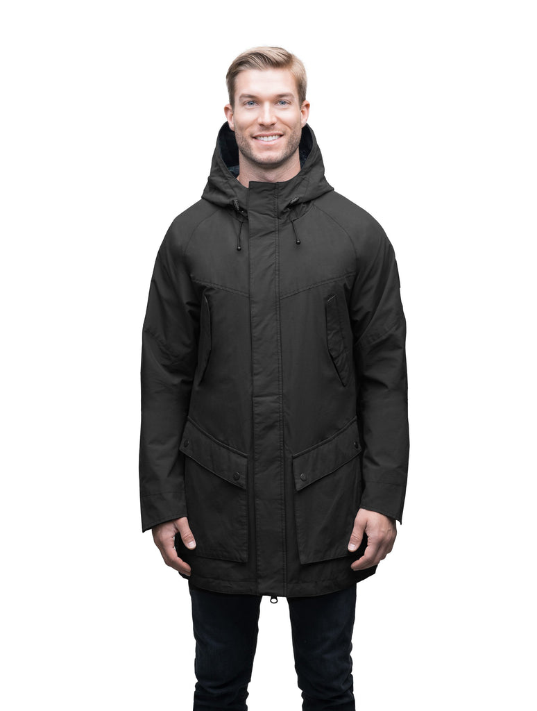 Men's hooded rain coat with hood in Black| color