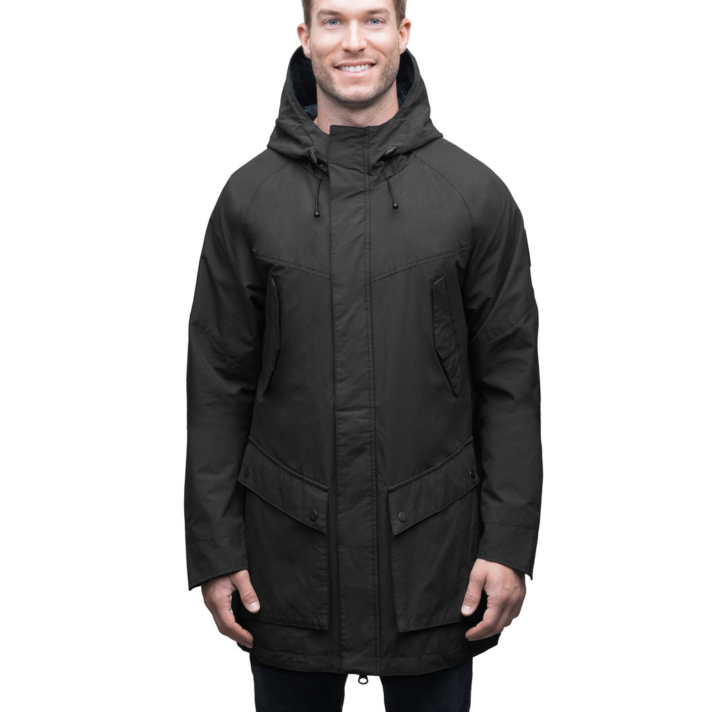 Men's hooded rain coat with hood in Black | color