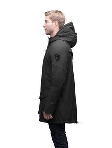 Men's hooded rain coat with hood in Black