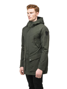 Men's hooded rain coat with hood in Dark Forest