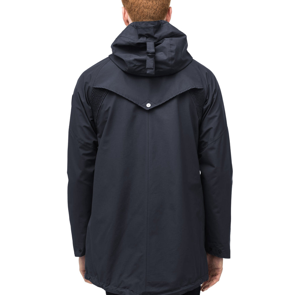 Men's hooded rain coat with hood in Navy | color