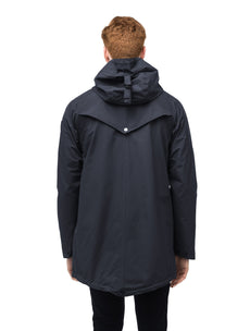 Men's hooded rain coat with hood in Navy