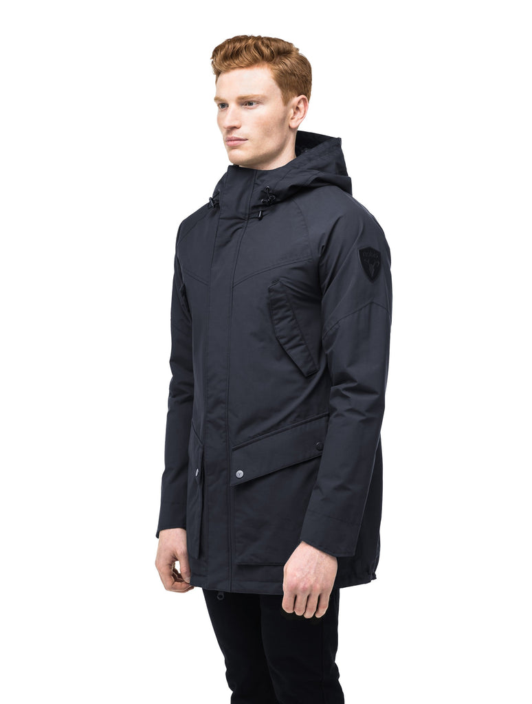 Men's hooded rain coat with hood in Navy| color
