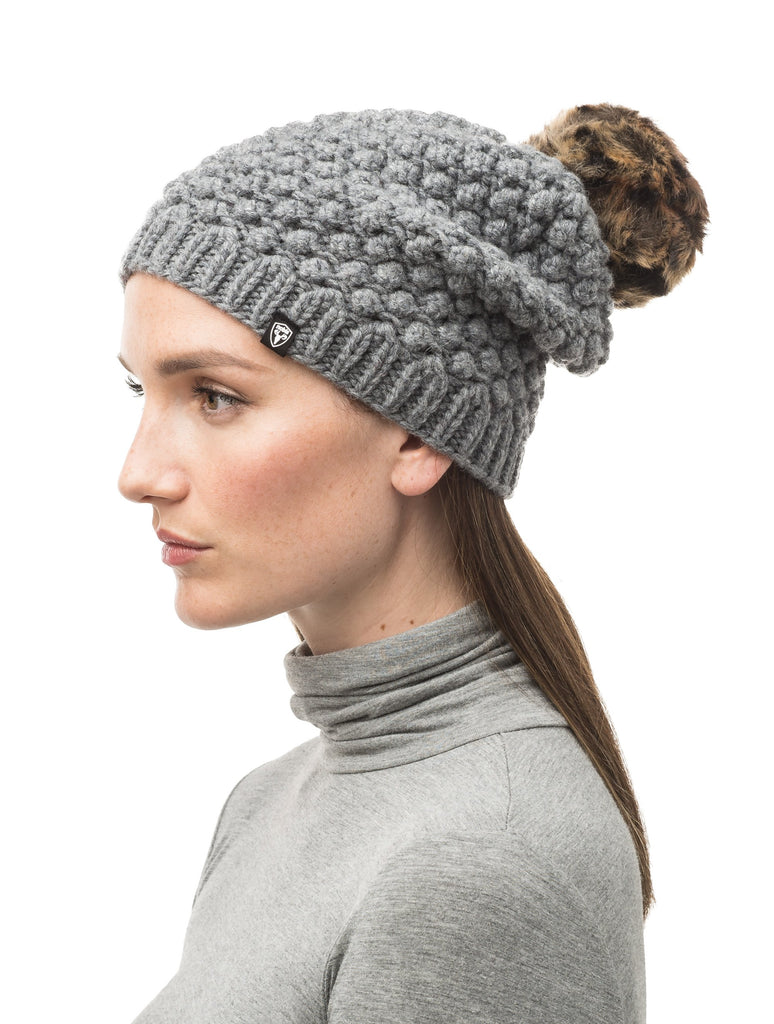H Grey bulk knit toque with faux fur pom pom on top| color