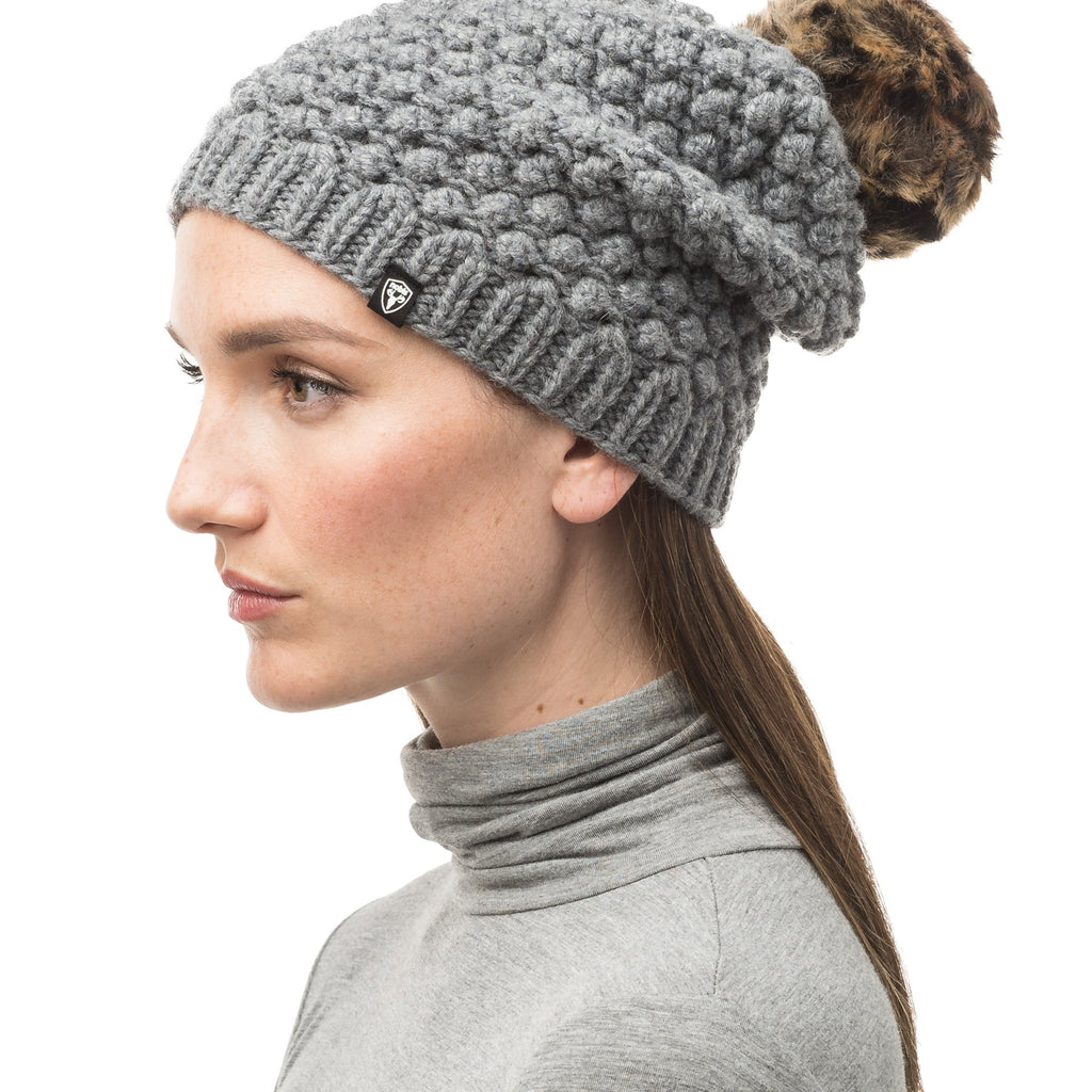 H Grey bulk knit toque with faux fur pom pom on top | color
