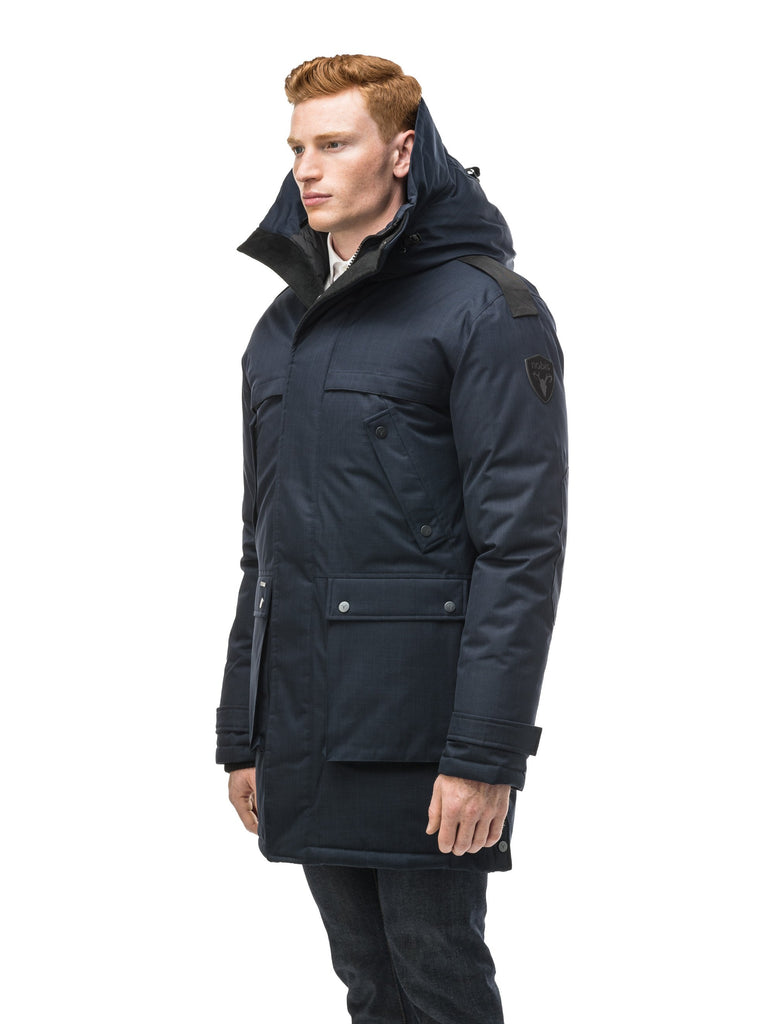 Men's Best Selling Parka the Yatesy is a down filled jacket with a zipper closure and magnetic placket in CH Navy| color