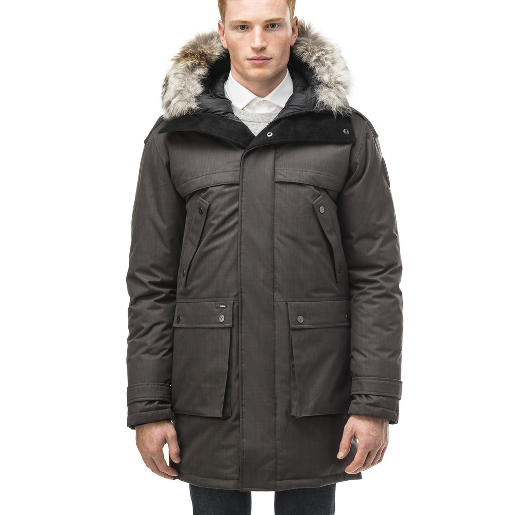 Men's Best Selling Parka the Yatesy is a down filled jacket with a zipper closure and magnetic placket in CH Steel Grey | color
