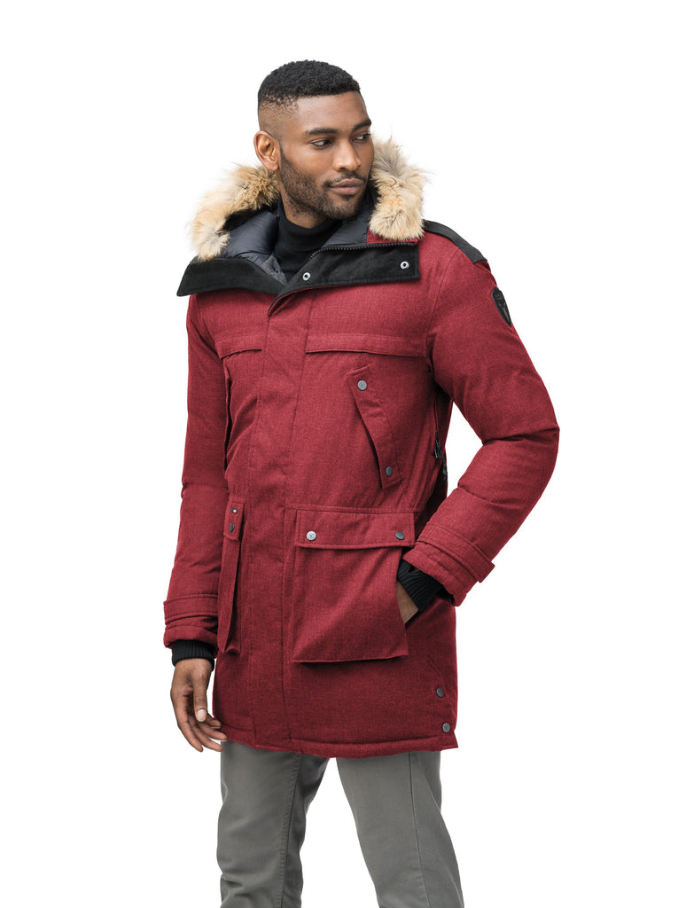 Men's Best Selling Parka the Yatesy is a down filled jacket with a zipper closure and magnetic placket in CH Cabernet| color