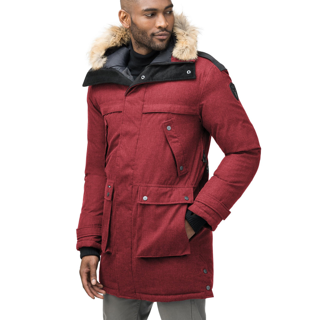 Men's Best Selling Parka the Yatesy is a down filled jacket with a zipper closure and magnetic placket in CH Cabernet | color