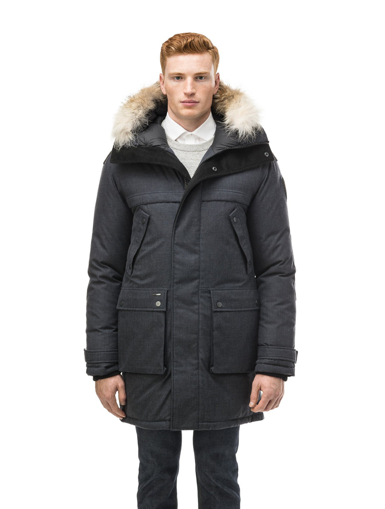 Men's Best Selling Parka the Yatesy is a down filled jacket with a zipper closure and magnetic placket in H. Navy| color