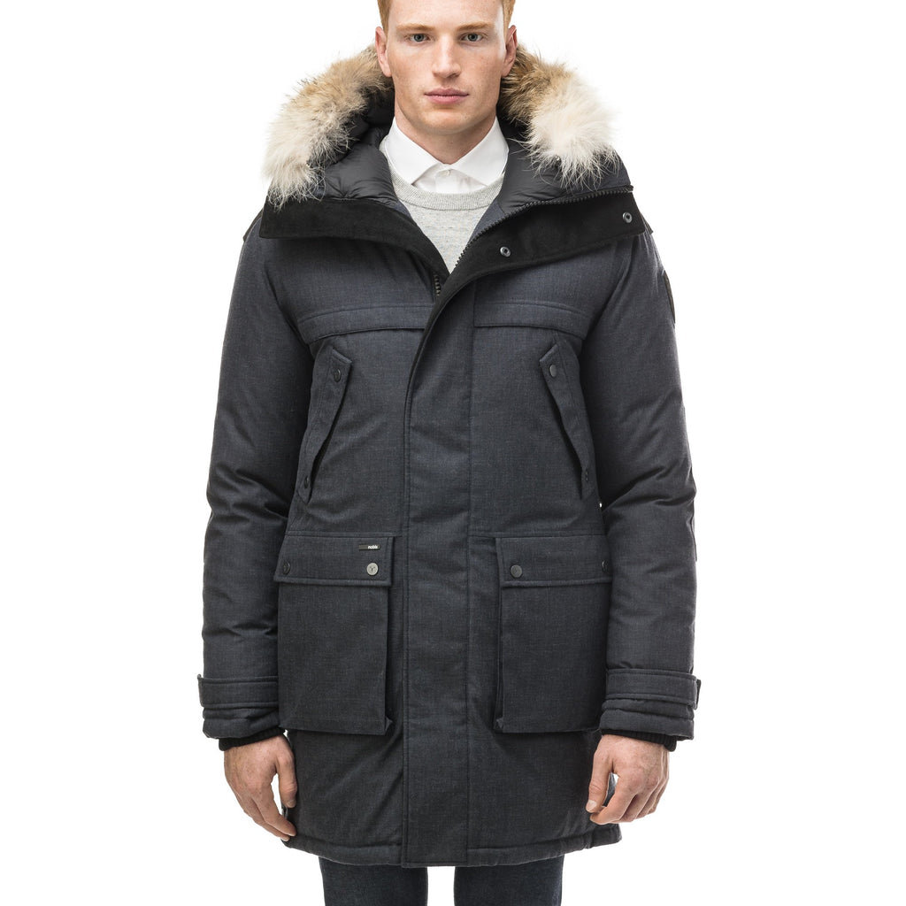 Men's Best Selling Parka the Yatesy is a down filled jacket with a zipper closure and magnetic placket in H. Navy | color