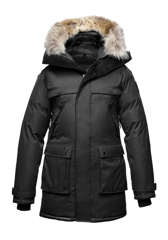 Men's Best Selling Parka the Yatesy is a down filled jacket with a zipper closure and magnetic placket in H. Black| color