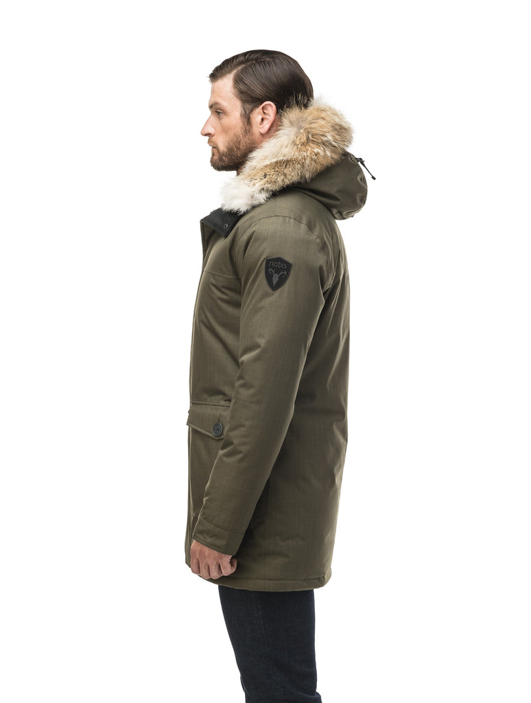 Men's slim fitting waist length parka with removable fur trim on the hood and two waist patch pockets in CH Army Green| color