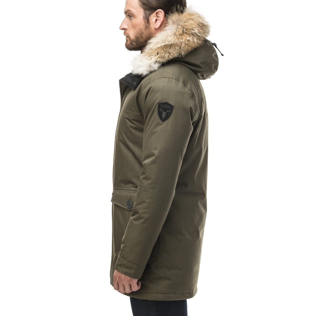 Men's slim fitting waist length parka with removable fur trim on the hood and two waist patch pockets in CH Army Green | color