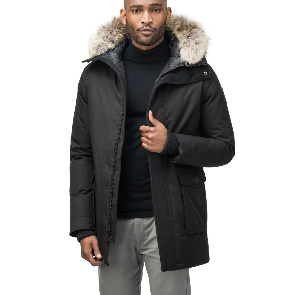 Men's slim fitting waist length parka with removable fur trim on the hood and two waist patch pockets in CH Black | color