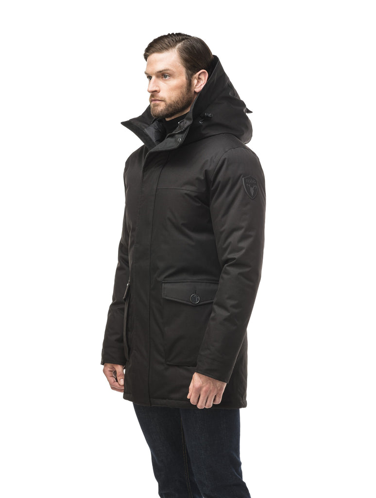 Men's slim fitting waist length parka with removable fur trim on the hood and two waist patch pockets in CH Black| color