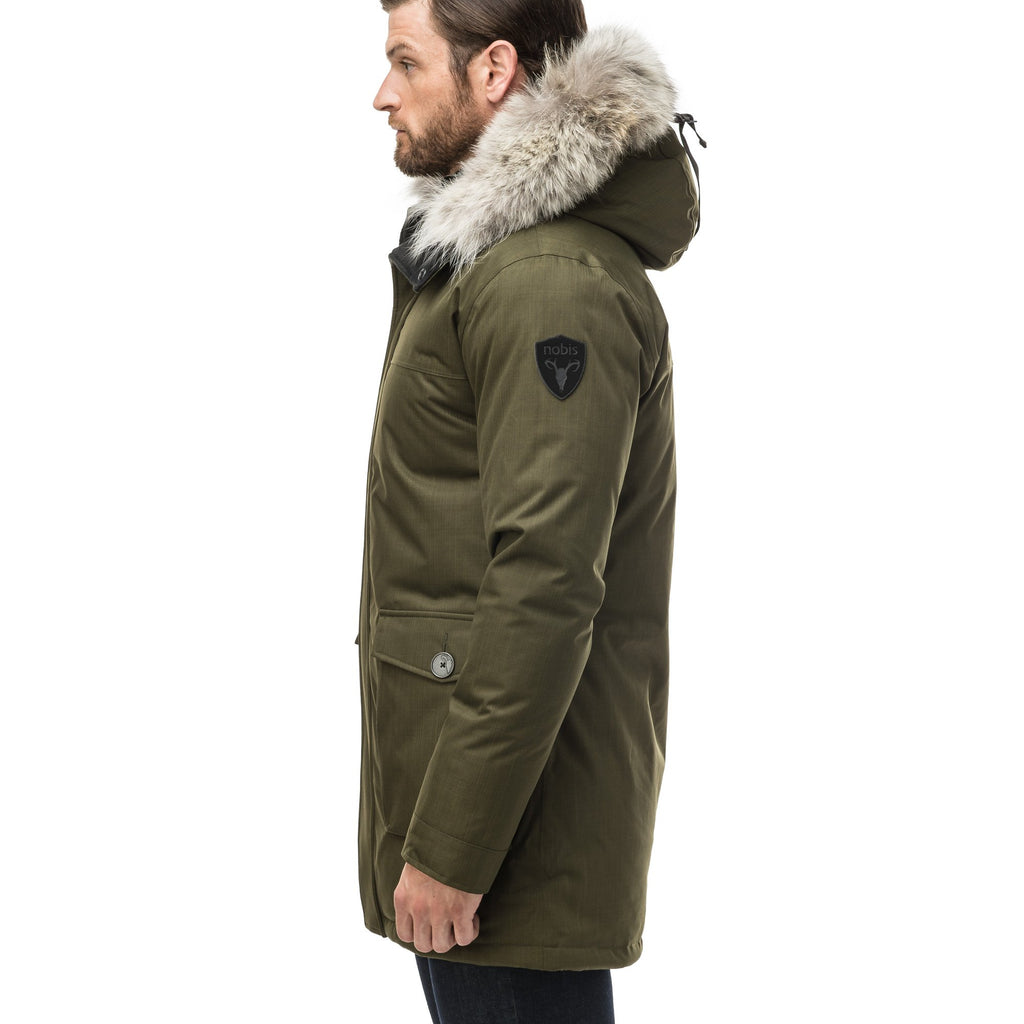 Men's slim fitting waist length parka with removable fur trim on the hood and two waist patch pockets in CH Fatigue | color