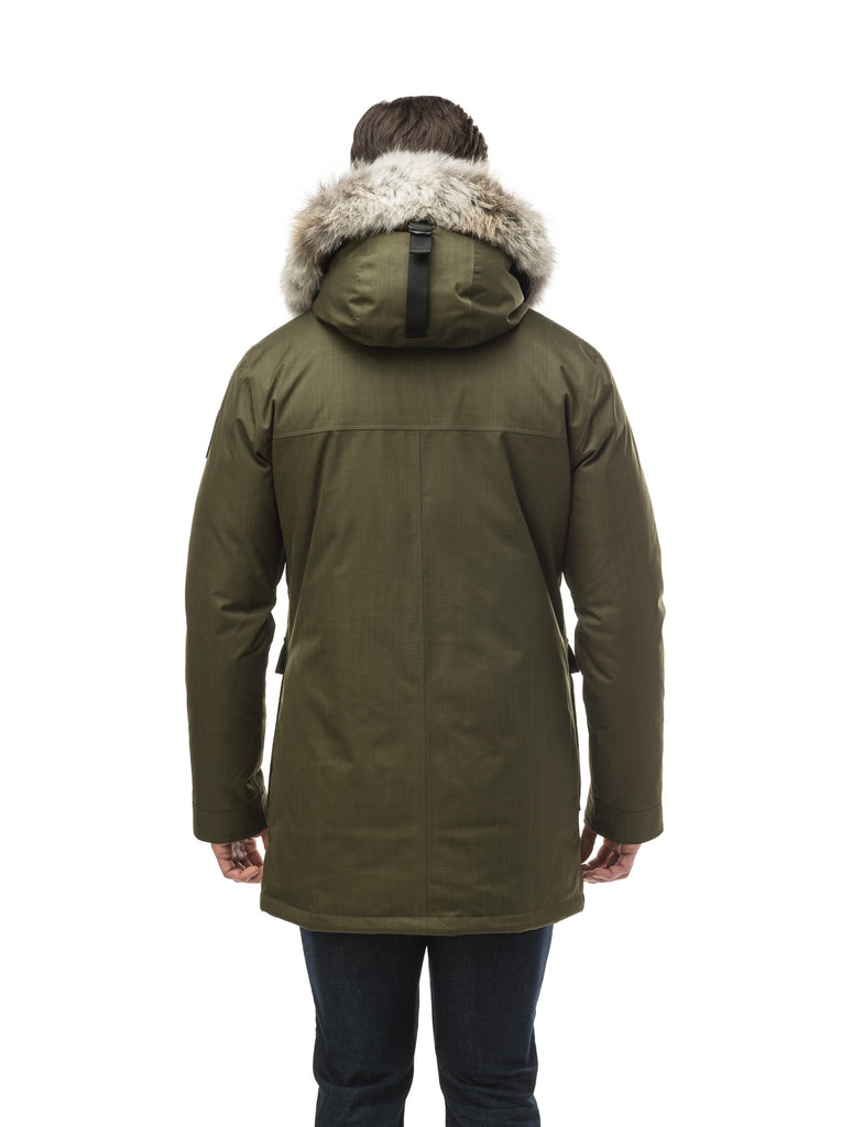 Men's slim fitting waist length parka with removable fur trim on the hood and two waist patch pockets in CH Fatigue| color