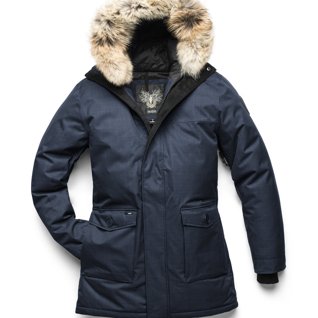 Men's slim fitting waist length parka with removable fur trim on the hood and two waist patch pockets in CH Navy | color