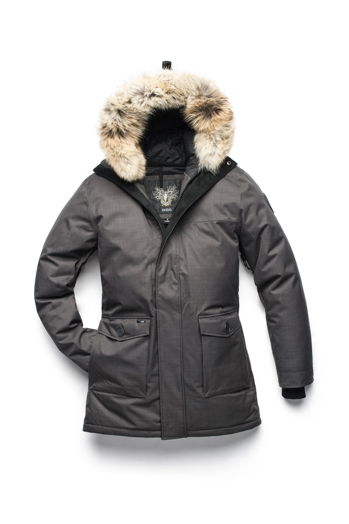 Men's slim fitting waist length parka with removable fur trim on the hood and two waist patch pockets in CH Steel Grey| color