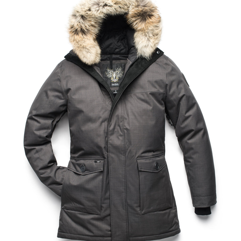 Men's slim fitting waist length parka with removable fur trim on the hood and two waist patch pockets in CH Steel Grey | color