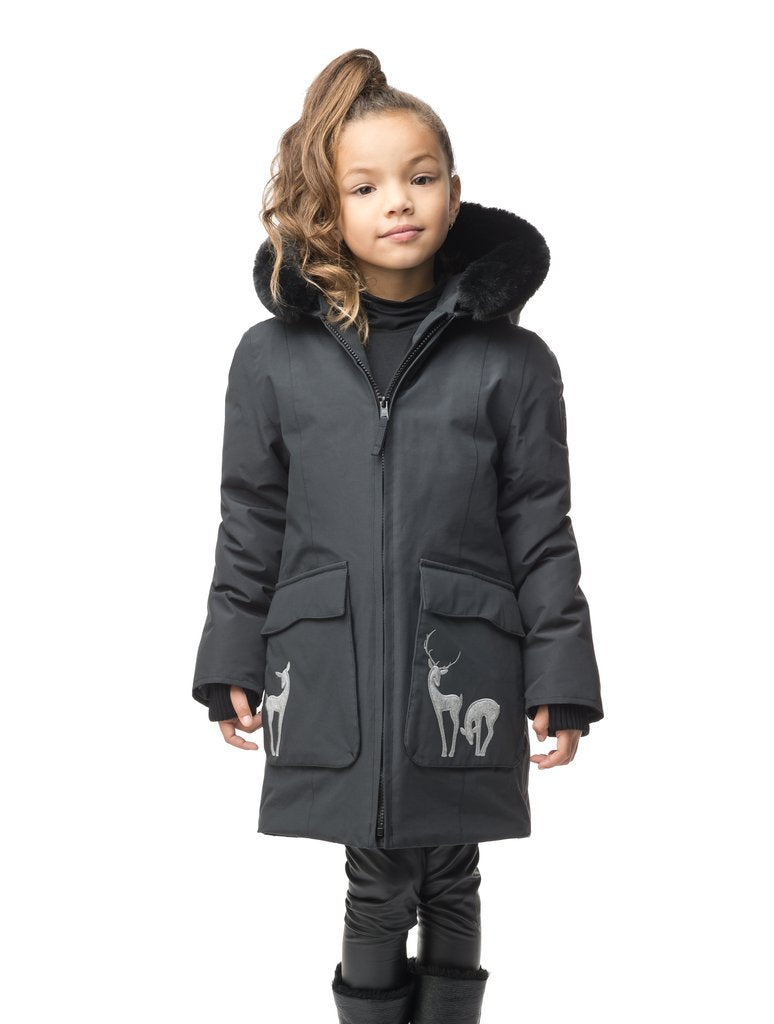 Kid's knee length down filled parka with deer applique detailing on the front patch pockets in Cy Black| color