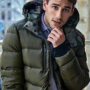 Men's Reversible Down Filled Bomber Coat