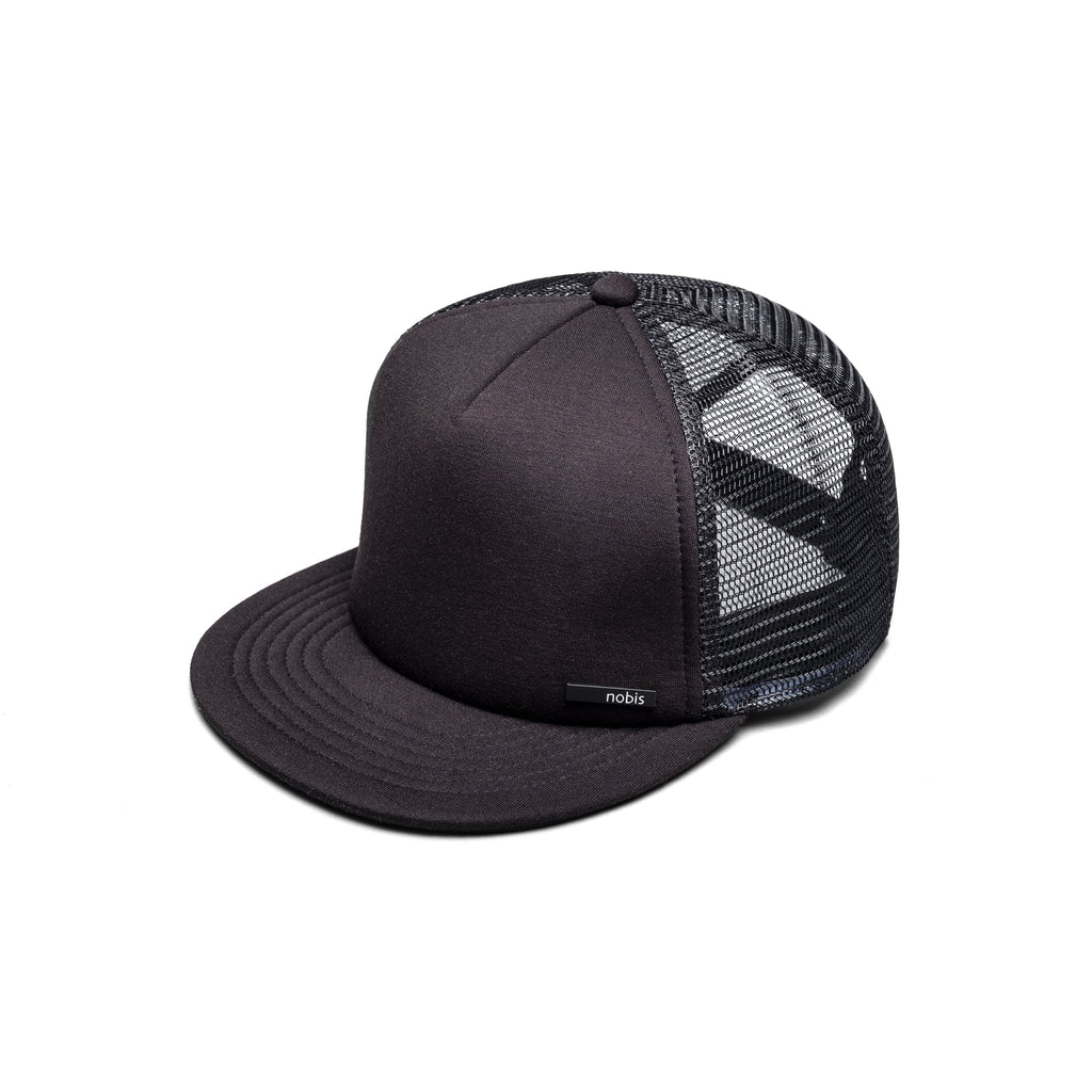 Six panel ball cap with two solid front panels and four mesh back panels in Black | color