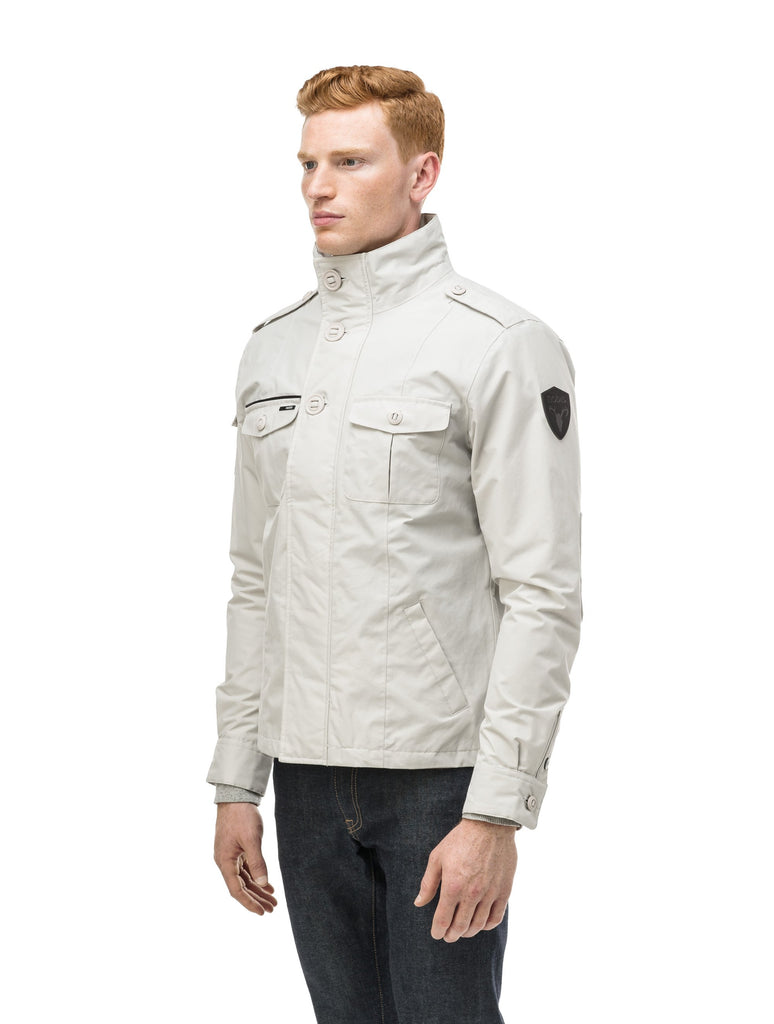 Men's waist length miltary style shirt jacket in Light Grey| color