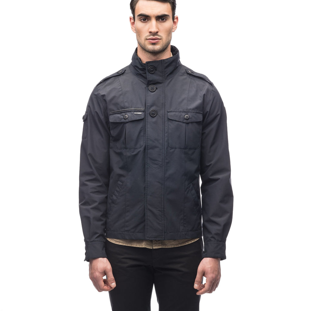 Men's waist length military style jacket in Black, Navy, Dark Forest | color