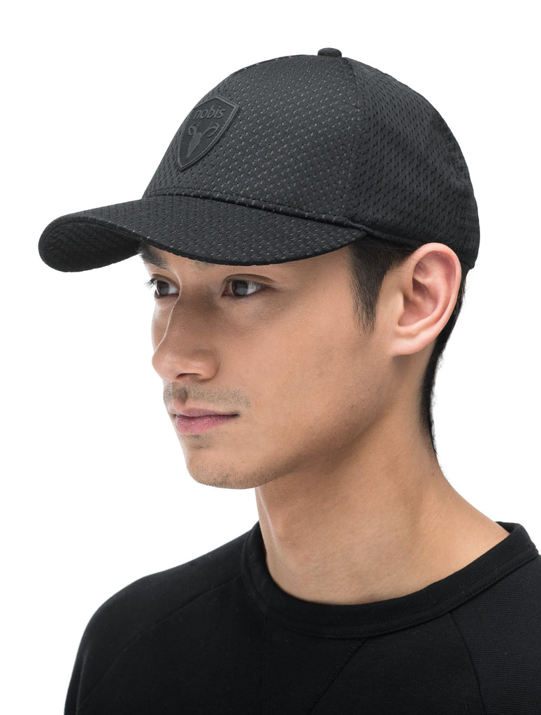 Unisex jersey 5-panel baseball hat with curved brim and adjustable strap at back in Black| color