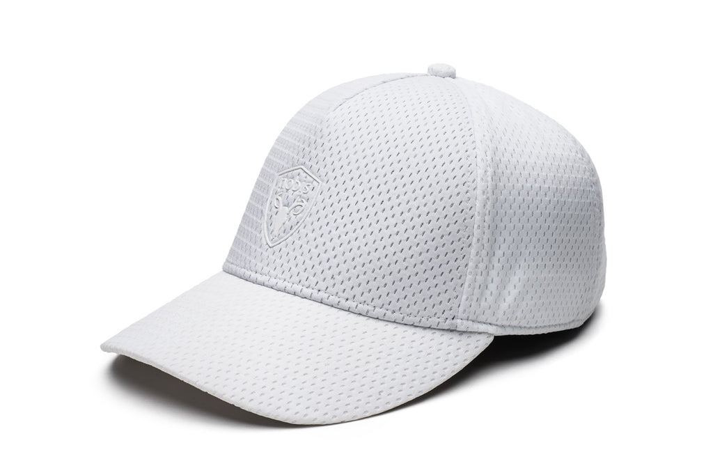 Unisex jersey 5-panel baseball hat with curved brim and adjustable strap at back in White| color