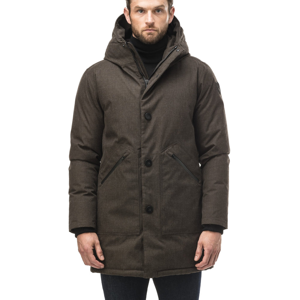 Men's fur free hooded parka with zipper and button closure placket featuring two oversized front pockets in H. Brown | color