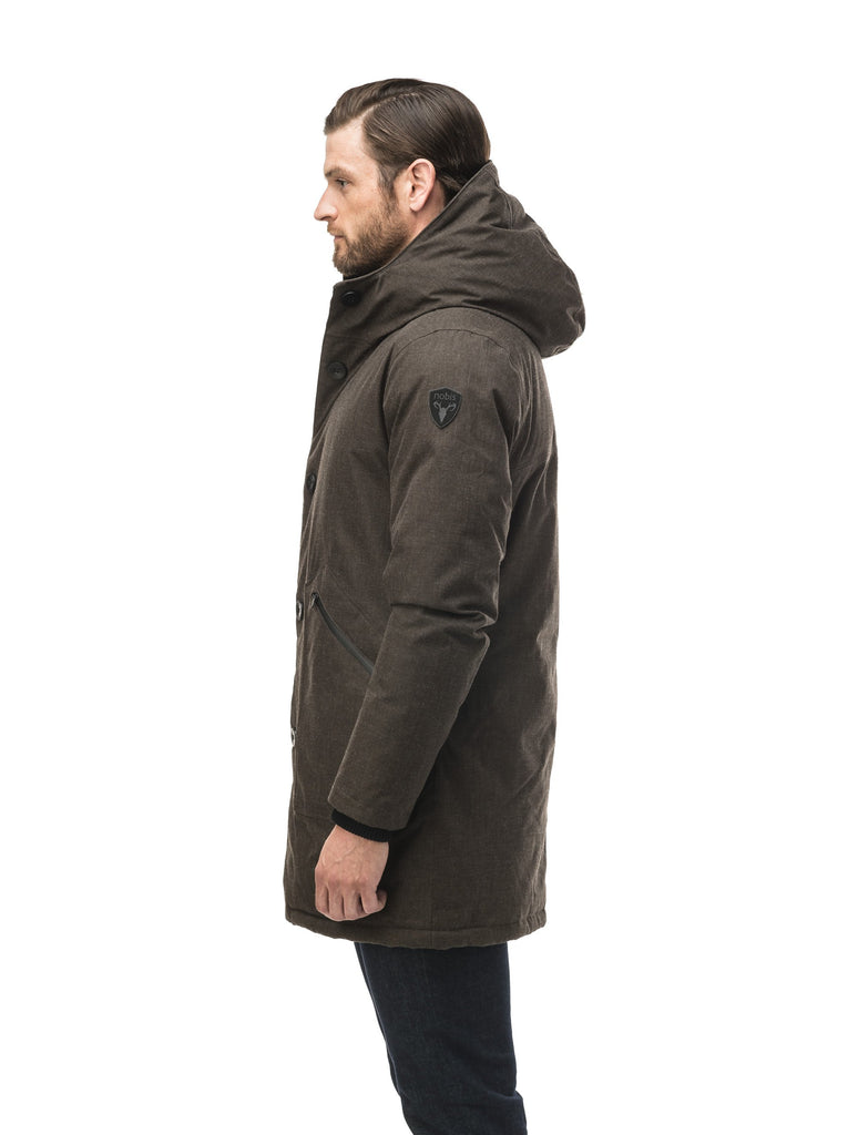 Men's fur free hooded parka with zipper and button closure placket featuring two oversized front pockets in H. Brown| color