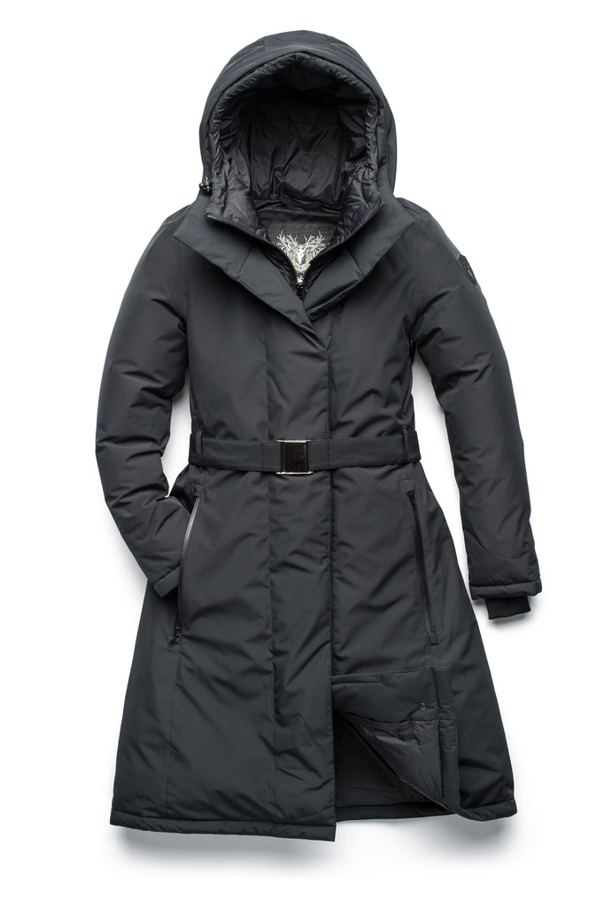 Long calf length hooded women's winter parka with an inner hip length closure, exterior hem length zipper and magentic placket in Black| color