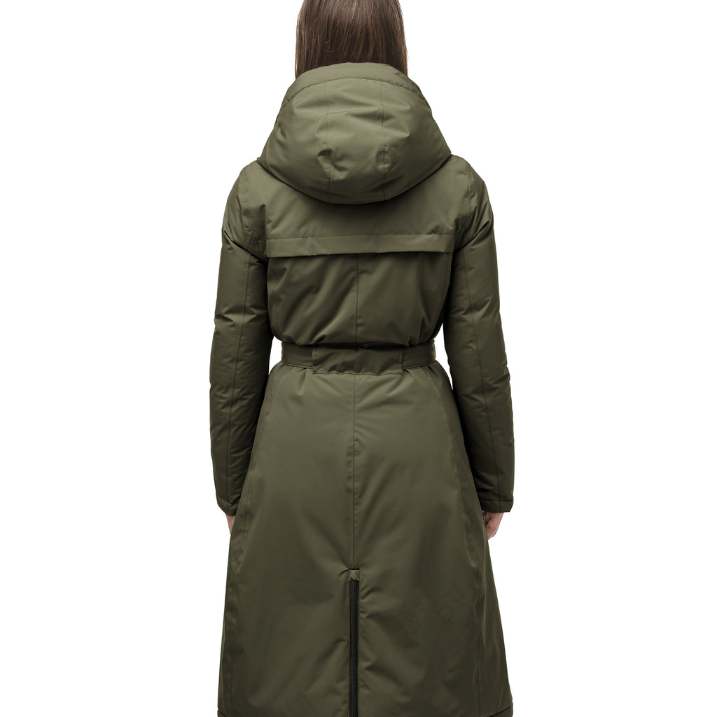 Long calf length hooded women's winter parka with an inner hip length closure, exterior hem length zipper and magentic placket in Fatigue | color