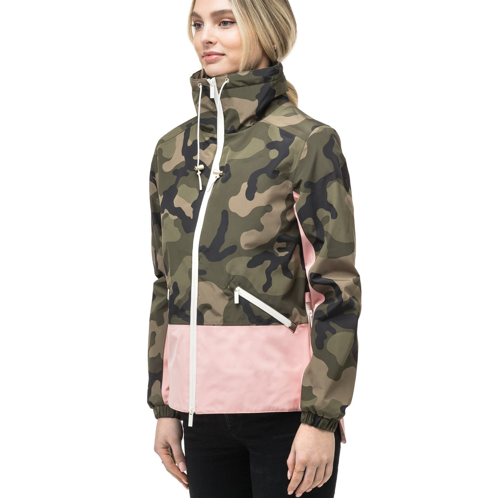 Leah waist length women's jacket in the Camo/Shell Pink color | color