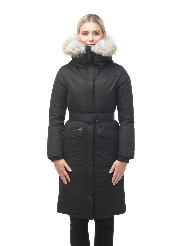 Women's maxi down filled parka with calf length hem in CH Black| color