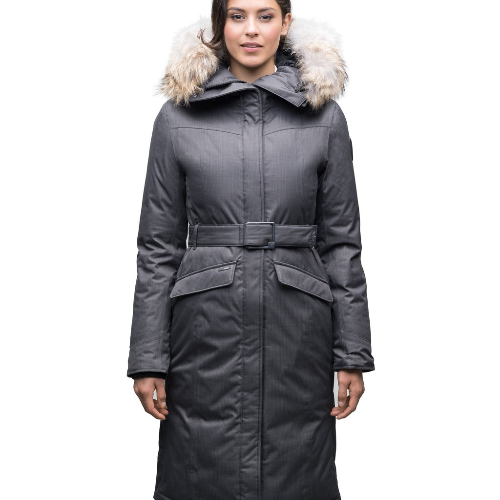 Women's maxi down filled parka with calf length hem in CH Steel Grey | color