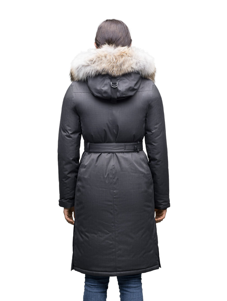 Women's maxi down filled parka with calf length hem in CH Steel Grey| color